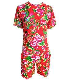 HP001 Disfraz de dúo divertido para hombre Disfraz de manga corta Traje de baile para mujer étnica Traje de flores rotas