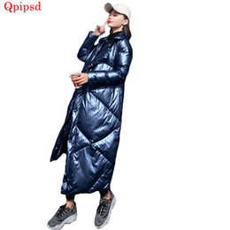 Womens Parkas Australia - Winter fashion bright face down jacket womens temperament slim down coat female long warm white parkas coat ladies overcoat