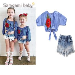 e033e3e69 2019 children's clothing baby children's suit baby girls rose striped shirt  + hole denim shorts kids clothes tops pant
