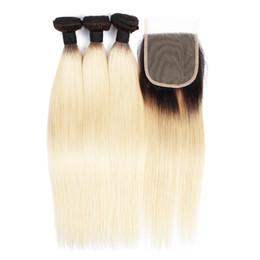 Virgin russian blonde hair online shopping - KISSHAIR T1B613 straight hair weave bundles with closure blonde color hair extension virgin European Brazilian hair