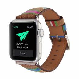 Leather Bracelets Watch For Men Australia - Watch Bands for iwatch 38mm 42mm For Apple Smart Watch Women Men Wood Grain Genuine Leather Bracelet Replacement Business Comfortable Strap