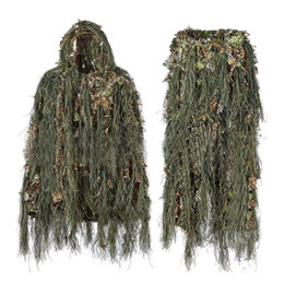 camouflage suits UK - Ghillie Suit Hunting Woodland 3D Bionic Leaf Disguise Uniform Cs Encrypted Camouflage Suits Set army tactical new