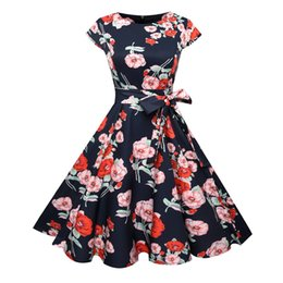 2173f4b68ef Women Floral Summer Dresses 2019 50s 60s Robe Vintage Pin up Casual Elegant  Party Rockabilly Dress Retro Vestidos Robe Chic