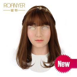 Roanyer Ensolarado crossdresser silicone máscara feminina realista transgênero látex sexy cosplay para o sexo masculino real fontes do partido do dia das bruxas
