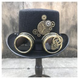 black magic hat NZ - 2020 New Fashion Men Women Handmade Steampunk Top Hat With Gear Glasses Stage Magic Hat Party Bowler Size 57CM