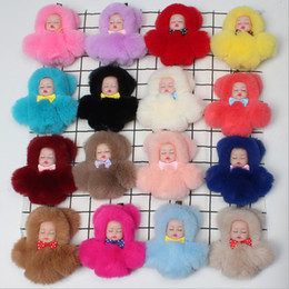 Soft toy doll keychain online shopping - New Mini Plush Pompon Cute Baby Sleeping Doll Ball Kids Plush Dolls keyring Keychain Soft Stuffed Toys Holder Charm Baby For Girls