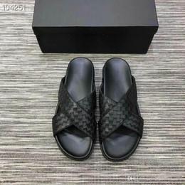 Media Keys Australia - Men Woven Leather Slide Sandals, Black Slip- on Flip Flops Atmospheric low-key Sport Slippers Size 38-45