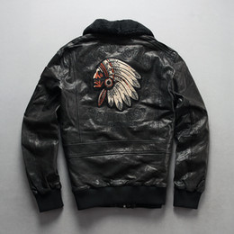 $enCountryForm.capitalKeyWord Australia - Indian head Embroidery men's Motorcycle clothing slim and short style leather jackets with Oil wax sheepskin genuine leather
