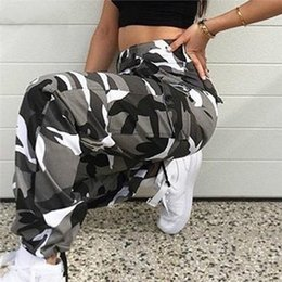 HigH waist camo pants online shopping - Orange Women High Waist Camouflage Pants Fashion Pantalon Femme Trouser Ankle Length Sweatpants Cotton Streetwear Camo Pants ss