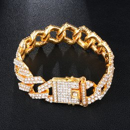 Pave link chain bracelet online shopping - Gold MM Bling Heavy Iced Out Cuban Link Chain Full Crystal Pave Men s Bracelet Bracelets for Men Hip Hop Jewelry