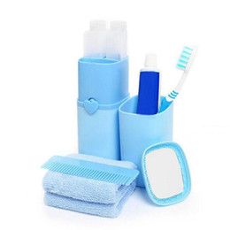 eco friendly towels UK - Portable Travel Set Toothbrush Cup Storage Box Bathroom Set Accessories For Toothpaste Tooth Brush Towel Wash Gargle Cup wh0517