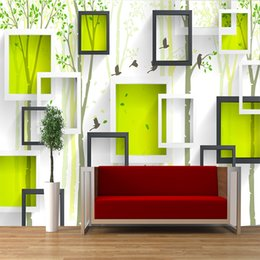 $enCountryForm.capitalKeyWord Australia - New modern green fresh there-dimensional block chart with nature scenery decor household TV Sofa backdrop mural wallpaper for living walls