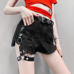 Legs Rings Australia - Sexy Leg Ring Black Shorts Woman High Waist Elastic Holes Denim Tight Summer Punk Female Shorts