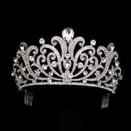 hair crowns for brides UK - Vintage Silver Crystal Tiara Wedding Big Crown For Bride Hair Accessories 2017 New Alloy Rhinestones Queen Crown Hair Jewelry Y19061503