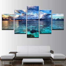 seascape canvas prints NZ - Canvas HD Prints Pictures Wall Art Framework 5 Pieces Calm Before The Storm Seascape Painting Home Decor Blue Sky Clouds Poster