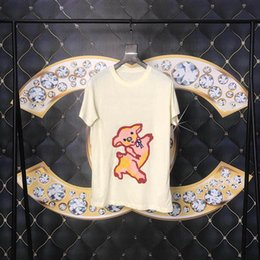 Men sequin online shopping - Spring Summer ss Luxury Europe Italy High Quality Embroidery Pig Tshirt Sequins Fashion Men Women T Shirt Casual Cotton Tee Top