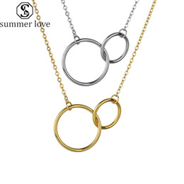 couple pendants gold Australia - Stainless Steel Double Circle Pendant Necklace Rings Steel Gold Interlocking Circles Trendy Couple Best Friendship Necklaces For Girls-