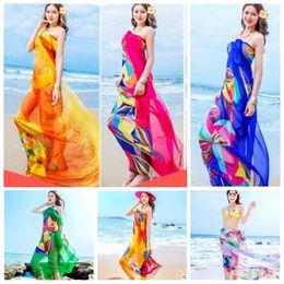 31d8e1153481d Scarves Women Floral Beach Wraps Sunscreen Sea Shawl Femme Fashion Summer  Driving Scarf Chiffon Pareo Pashmina Tulle Sarong Swim Towel A4526