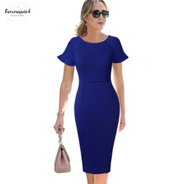 ElEgant grEEn drEss cocktail online shopping - Womens Summer Elegant Ruffle Flutter Sleeves Business Wear To Work Casual Office Cocktail Party Bodycon Pencil Sheath Dress