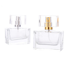 bottle perfume glasses UK - High Quality 30ml Square Glass Perfume Bottle Clear Glass Spray Bottle Empty Fragrance Comestic Packaging Bottle In Stocks