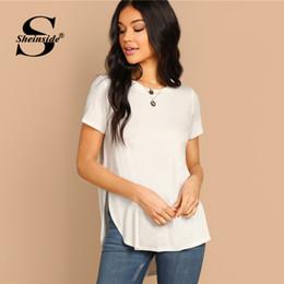 42c37f4960 Sheinside White Casual Side Split T-Shirt Women 2019 Summer Short Sleeve  Solid Tee Top Ladies Curved Hem Basic Minimalist Tops