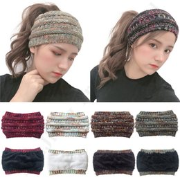 crochet hat sizing Australia - Women Winter Knitted Ponytail Hats Girls Crochet Twist Headband Brand Label Fleece Messy Bun Skully Caps Beanie Ear warmer Hair Band C92406