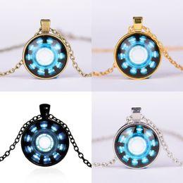 $enCountryForm.capitalKeyWord UK - Cheap Necklaces Pendants Avengers 4 Endgame Iron Man Captain America Heart Arc Necklace Key Holder 25MM Gemstone Necklace Phone Chain A41006