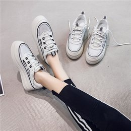 Korean muffin shoes online shopping - Autumn new Korean version of leather thick sole inside high casual shoes women flat soled waterproof platform muffin small white shoes