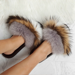 Flat Slippers For Ladies Canada - Women Open Toe Furry Flat Slippers Summer Fashion Soft Outdoors Fur Slides For Ladies Flat Shoes 014A2322 -4