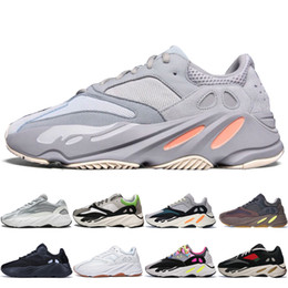 Men Trainer Running Shoes Gold UK - With Box New Kanye West 700 V2 Static 3M Mauve Inertia 700s Wave Runner Mens Running shoes for men Women sports sneakers designer trainers