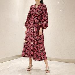 $enCountryForm.capitalKeyWord Australia - womens dress fashion retro style V-neck Lantern long-sleeved rope pull flower print lace long dress female