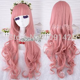 kanekalon lace wigs NZ - Stylish Pink Long Curly Anime Women Style Cosplay Hair Full Wig 80cm queen Kanekalon hair lace front wigs Free deliver