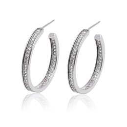 5af903e4a MxGxFam Hollow White Hoop Earrings For Women Girl White Gold Color Top  Quality AAA+ Cubic zircon