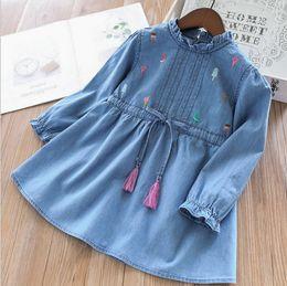 Girls Tassel Shirt Australia - Kids denim dress shirt girls ice cream embroidery tassel Bows belt princess tops New children ruffle collar falbala sleeve jean dress F4221