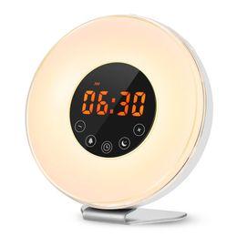Chinese  LED Digital Alarm Clock Sunrise Wake Up Light Simulation Bedside Lamp Night Light Snooze Sunset FM Radio Memory Function manufacturers