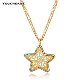 Necklaces Pendants Australia - TOUCHEART Gold Star Long Stainless Steel Pendants & Necklaces For Women Crystal love Ethnic Jewelry Statement Necklace SNE150884