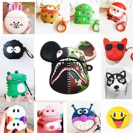 pink shark NZ - For AirPod2 Case Panda lion crocodile shark dinosaur Skull Huskies Cartoon Soft Silicone pvc arphone Cases For Apple Airpods Case Cute Cover
