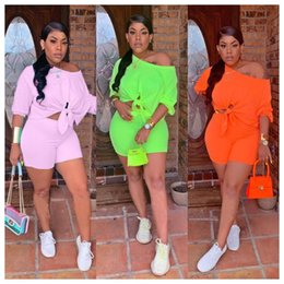 $enCountryForm.capitalKeyWord NZ - PLUS Size Solid Casual Style 2 Piece Outfits Summer Half Sleeve Lace Up Top And Fit Slim Short Pants Hot Sale Women Suits QY5102
