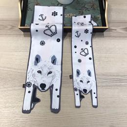 Fiber Fox Australia - Parent-child Women Children Scarves Animal Print Fox Scarf Imitated Silk Scarf Polyester Women Dress Summer Spring Kids Lady Scarves & Wraps