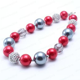 Fashion children jewelry necklaces online shopping - Newest Fashion Kid Chunky Necklace Red Grey Color Bubblegum Bead Chunky Necklace Children Jewelry For Toddler Girls