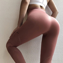 training tights women Canada - High Waist Exercise Tight Fitting Pants Women Hollow Out Pink Ankle Yoga Pants Seamless Quick-dry Training Gym Sports Leggings