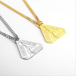 Sterling Silver Snake chain long online shopping - Fashion triangle two split necklace men and women K gold plated letters long sweater chain stainless steel puzzle pendant necklace