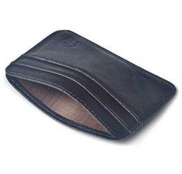 Black Wallet Id NZ - Ultra- Thin Slim Credit Card Holder Pu Leather Mini Wallet Id Case Purse Bag Pouch Men Women Business Black Credit Card Holder