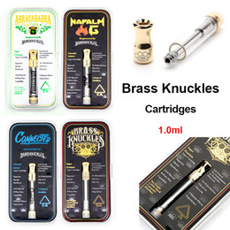 flavoured cigarettes UK - Brass Knuckles Cartridges Gold Tank Thick Oil Dab Wax Vaporizer 1ml Ceramic Vape Cartridges Atomizer E Cigarettes With Flavour Sticker