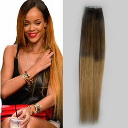 $enCountryForm.capitalKeyWord Australia - Virgin Peruvian Straight Remy Hair Two tone PU Skin Weft Tape In Human Hair Extensions Ombre Tape Hair Extensions Brown And Blonde Color