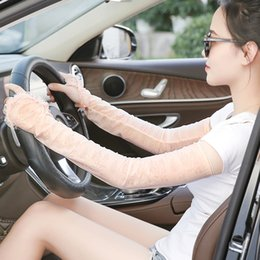 uv long driving gloves UK - Sun protection gloves female anti-UV thin long section summer ice silk driving cycling arm sleeves cool sleeves