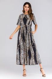 $enCountryForm.capitalKeyWord NZ - Free Shipping Women Leopard Print Dress S-6XL Plus Size Short Sleeve Summer Dress Round Neck BOHO Dress