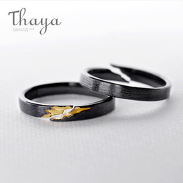 $enCountryForm.capitalKeyWord Australia - Thaya S925 Sterling Silver Gold Crack Ring Ancient Black Wood Grain Female Handmade Stackable For Women Party Fashion Jewelry Y19061003
