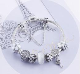 White Silver Bracelet Australia - Fashion s925 Sterling Silver White Crystal Murano Lampwork Glass & Crystal European Charm Beads Fits Pandora Charm bracelets Style Bracelets