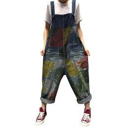 Harem Jumpsuits Women UK - Women Vintage Printed jean Jumpsuits big size Baggy Wide Leg Bodysuits cowboy Drop Crotch Denim Rompers Oversized Bib Harem pant